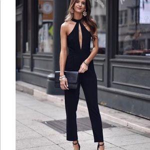 Ca mode Sleeveless Plain Halter Jumpsuit black